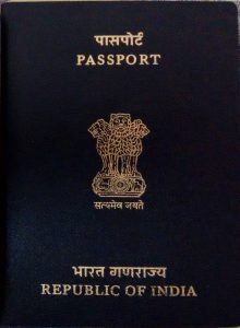 The cover of an Indian passport