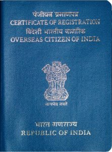 The cover of an OCI certificate of registration