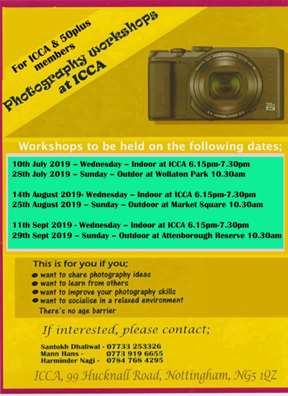Workshop Dates July - Sept 2019 - The ICCA